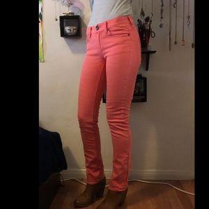 Bright pink matchstick J Crew skinny jeans